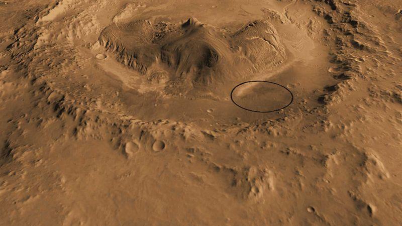 Le site d'atterrissage de Mars Science Laboratory et du rover Curiosity - Cratère Gale