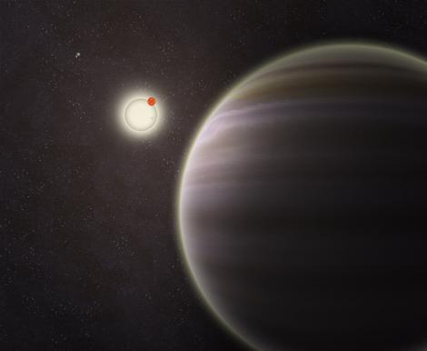 Vision d'artistede la planète PH1. Ph1 est au premier plan, avec ses deux soleil en arrière plan.